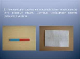 2. Положили лист картона на полосовой магнит и насыпали на него железные опил