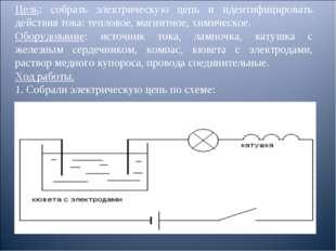 Цель: собрать электрическую цепь и идентифицировать действия тока: тепловое,