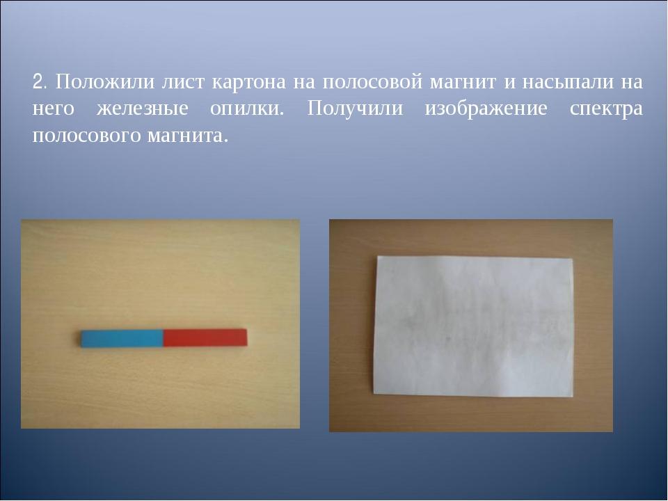 2. Положили лист картона на полосовой магнит и насыпали на него железные опил...