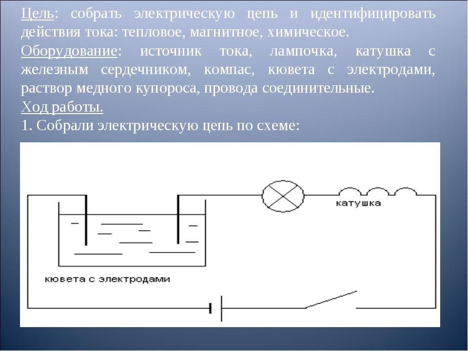 Цель: собрать электрическую цепь и идентифицировать действия тока: тепловое,...