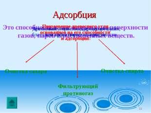 * Адсорбция Это способность к поглощению на поверхности газов, паров и раство
