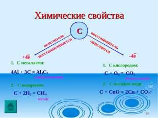 * Химические свойства С окислитель восстанавливается С металлами: 4Al + 3C =