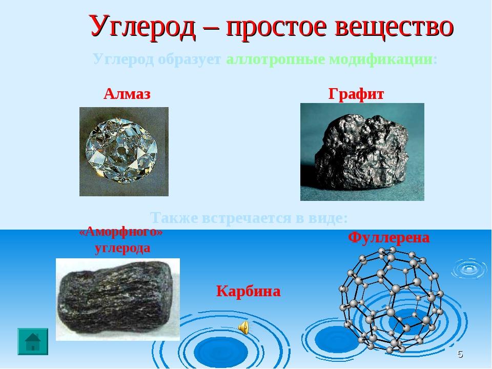 * Углерод – простое вещество Углерод образует аллотропные модификации: Алмаз...