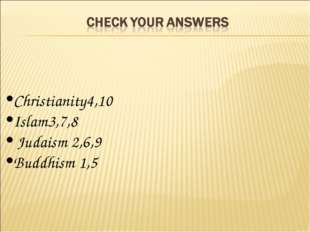 Christianity4,10 Islam3,7,8 Judaism 2,6,9 Buddhism 1,5