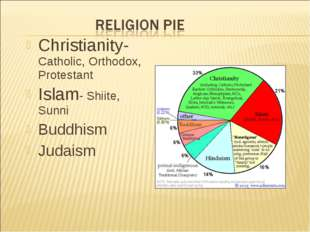 Christianity- Catholic, Orthodox, Protestant Islam- Shiite, Sunni Buddhism Ju
