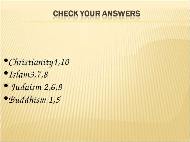 Christianity4,10 Islam3,7,8 Judaism 2,6,9 Buddhism 1,5