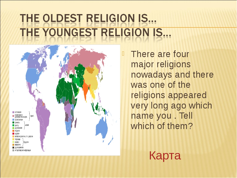 There are four major religions nowadays and there was one of the religions ap...