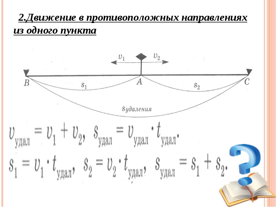 2.Движение в противоположных направлениях из одного пункта