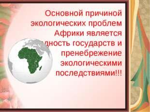 Основной причиной экологических проблем Африки является бедность государств и