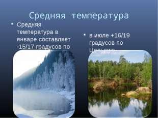 Средняя температура Средняя температура в январе составляет -15/17 градусов п