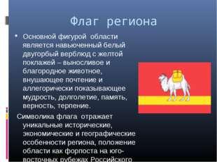 Флаг региона Основной фигурой области является навьюченный белый двугорбый ве