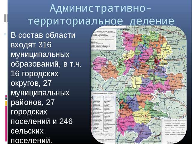 Административно-территориальное деление В состав области входят 316 муниципал...