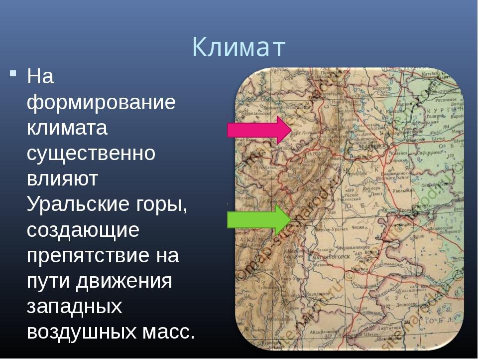Климат На формирование климата существенно влияют Уральские горы, создающие п...