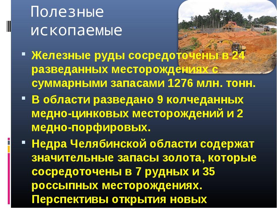 Полезные ископаемые Железные руды сосредоточены в 24 разведанных месторождени...