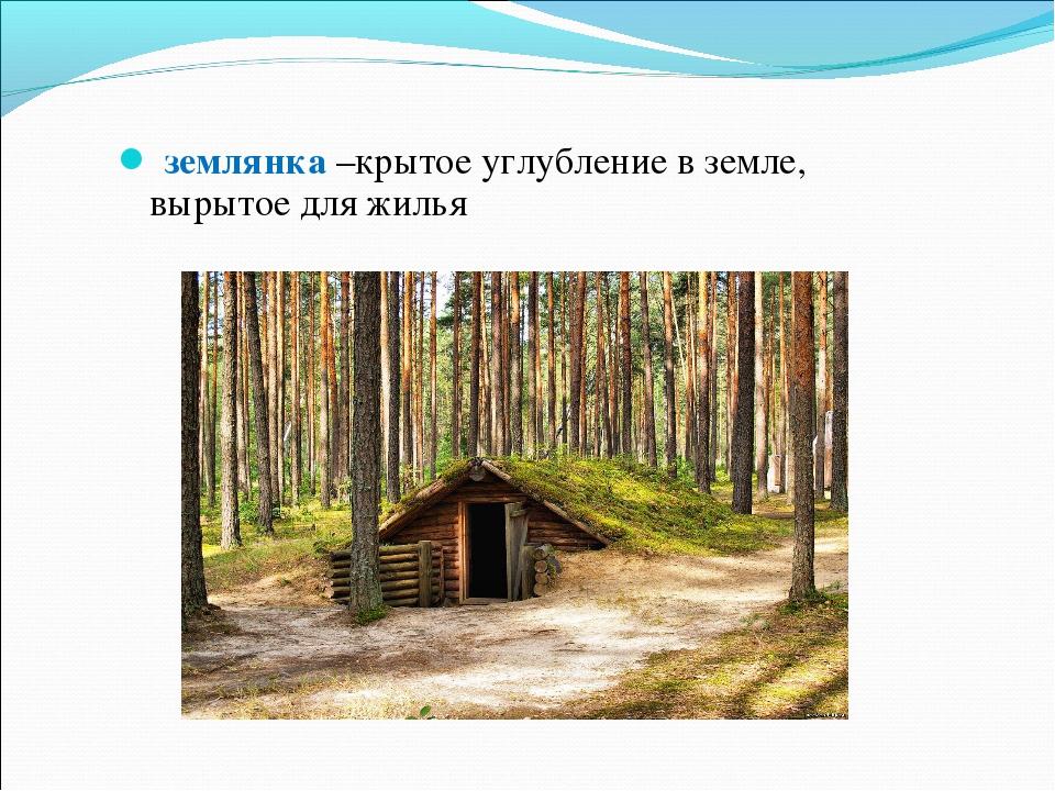 землянка –крытое углубление в земле, вырытое для жилья