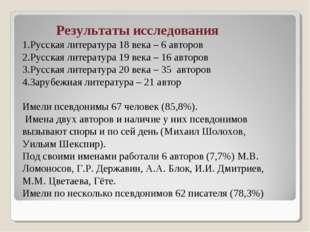 Результаты исследования 1.Русская литература 18 века – 6 авторов 2.Русская ли