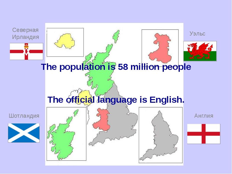Англия Шотландия Уэльс Северная Ирландия The population is 58 million people...