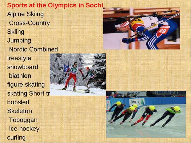 Sports at the Olympics in Sochi Alpine Skiing Cross-Country Skiing Jumping No...