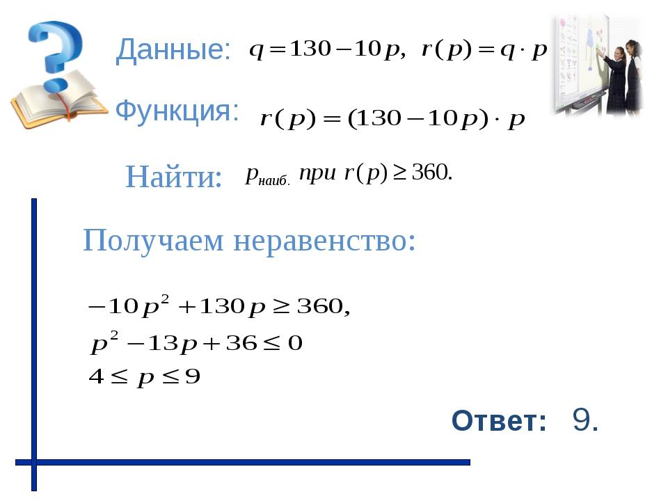 Данные: Функция: Найти: Получаем неравенство: Ответ: 9.