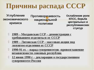 1989 – Молдавская ССР – демонстрации с требованием отделиться от СССР 1989 –