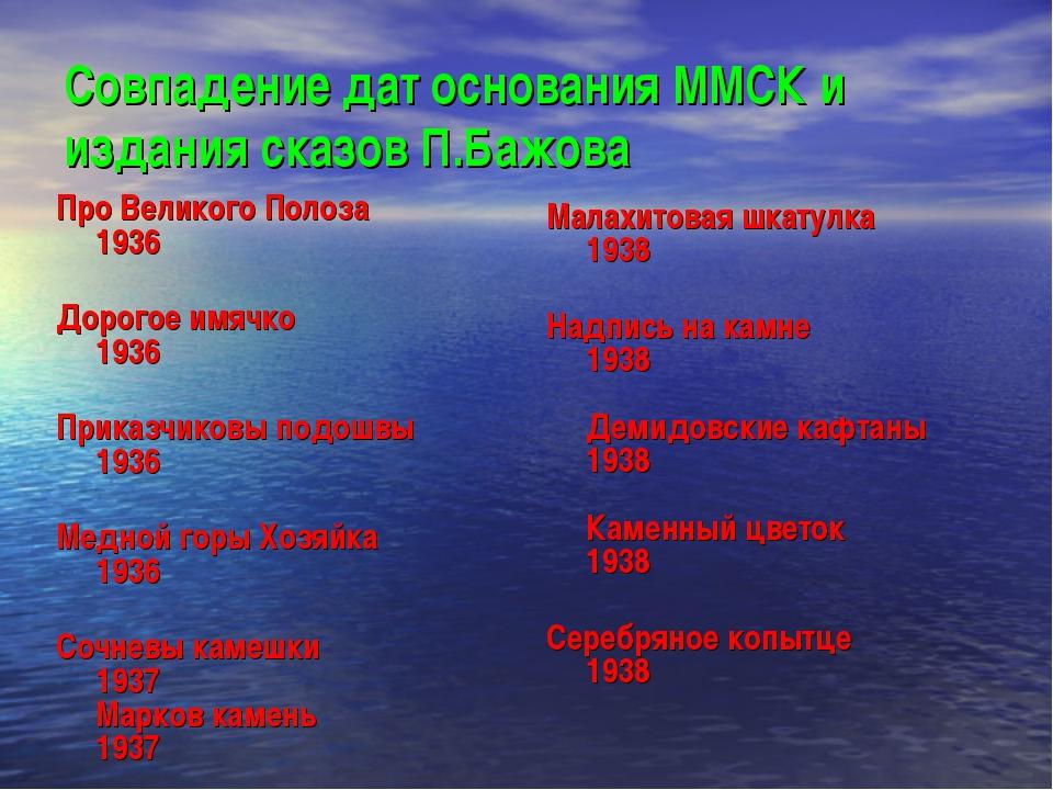 Совпадение дат основания ММСК и издания сказов П.Бажова Про Великого Полоза 1...