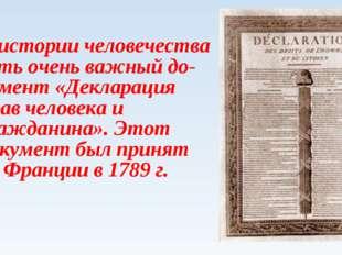 В истории человечества есть очень важный документ «Декларация прав человека