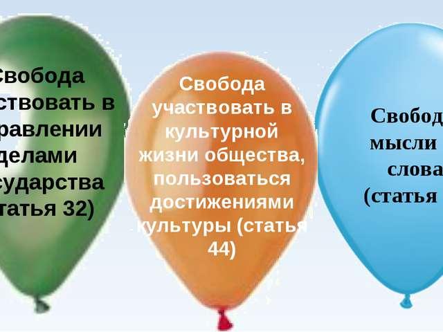 Свобода участвовать в управлении делами государства (статья 32) Свобода участ...