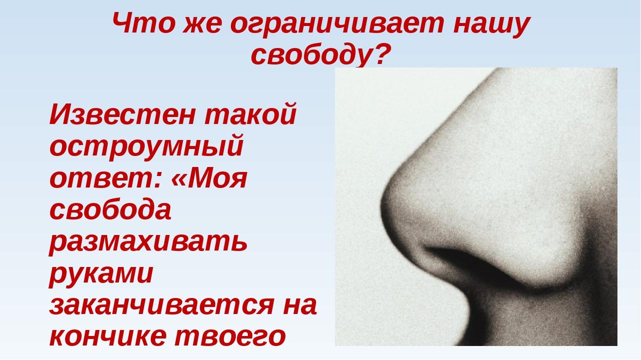 Что же ограничивает нашу свободу? Известен такой остроумный ответ: «Моя свобо...