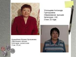 Кыдырбаева Нурима Оралкановна Образование: высшее Категория: соответствие Ста