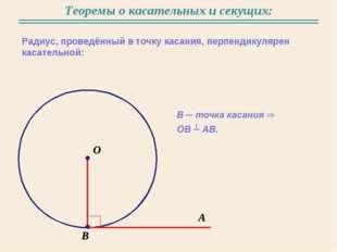Теоремы о касательных и секущих: Радиус, проведённый в точку касания, перпенд