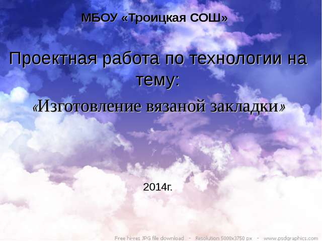 МБОУ «Троицкая СОШ» Проектная работа по технологии на тему: «Изготовление вяз...