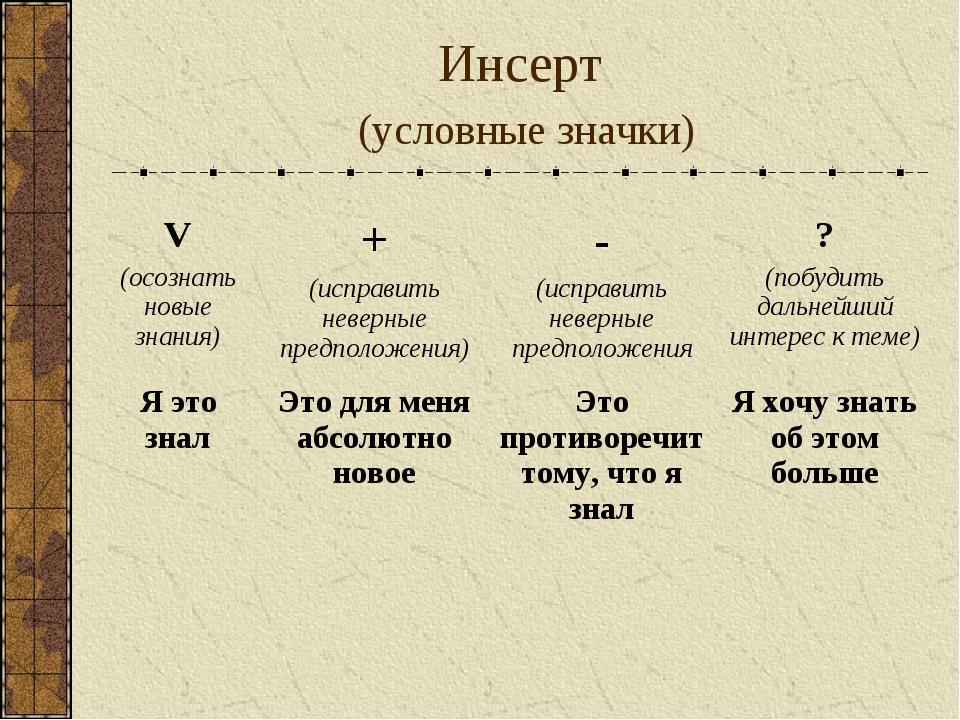 Инсерт (условные значки) V (осознать новые знания)+ (исправить неверные пред...