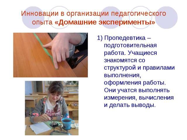 Инновации в организации педагогического опыта «Домашние эксперименты» 1) Проп...