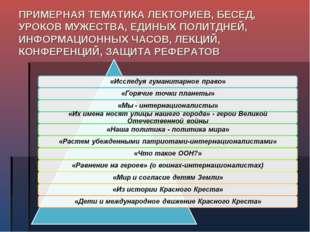 ПРИМЕРНАЯ ТЕМАТИКА ЛЕКТОРИЕВ, БЕСЕД, УРОКОВ МУЖЕСТВА, ЕДИНЫХ ПОЛИТДНЕЙ, ИНФОР