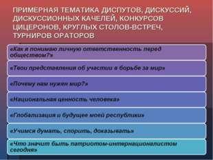 ПРИМЕРНАЯ ТЕМАТИКА ДИСПУТОВ, ДИСКУССИЙ, ДИСКУССИОННЫХ КАЧЕЛЕЙ, КОНКУРСОВ ЦИЦЕ