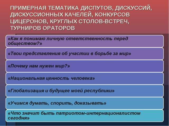 ПРИМЕРНАЯ ТЕМАТИКА ДИСПУТОВ, ДИСКУССИЙ, ДИСКУССИОННЫХ КАЧЕЛЕЙ, КОНКУРСОВ ЦИЦЕ...