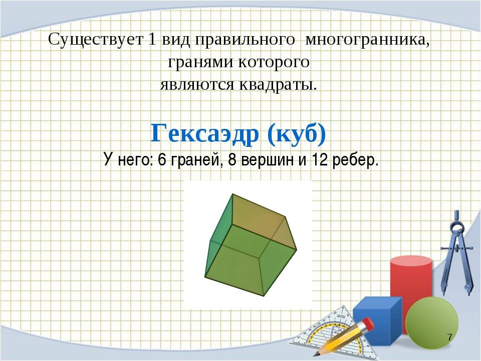 Существует 1 вид правильного многогранника, гранями которого являются квадрат...