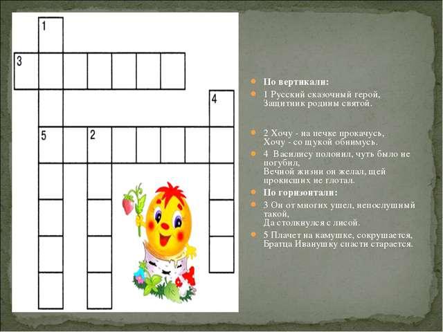 По вертикали: 1 Русский сказочный герой, Защитник родины святой. 2 Хочу - на...