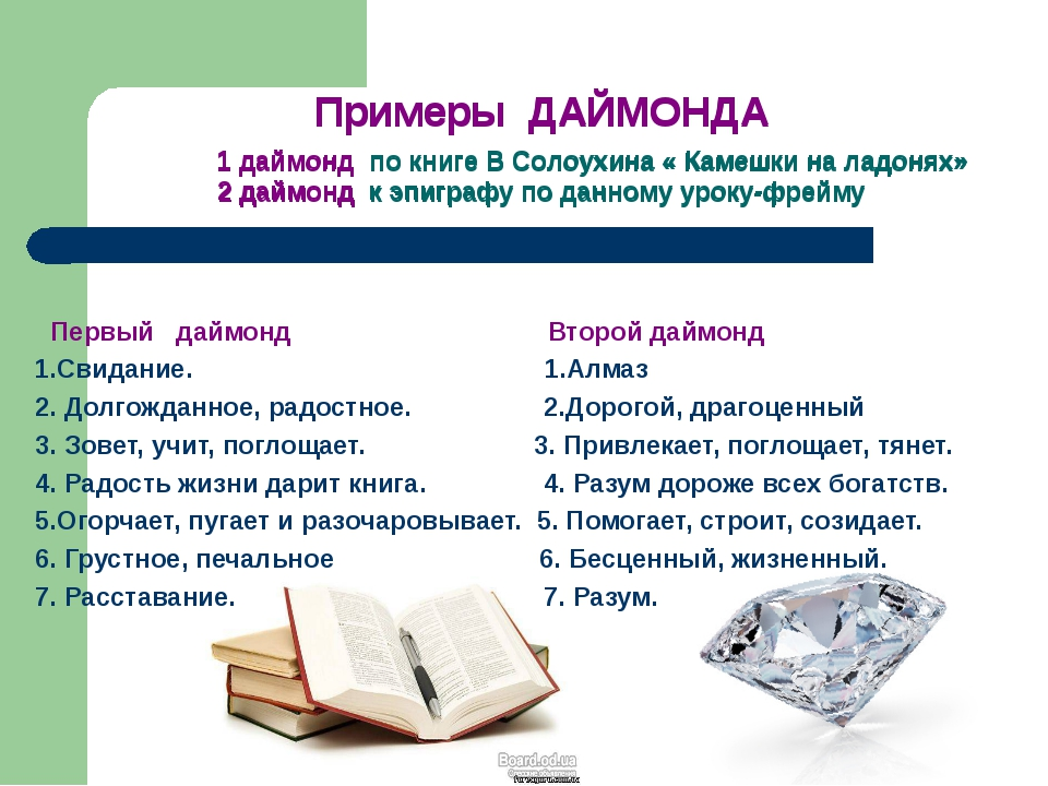 Примеры ДАЙМОНДА 1 даймонд по книге В Солоухина « Камешки на ладонях» 2 даймо...