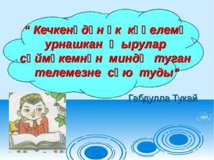 """ Кечкенәдән үк күңелемә урнашкан җырулар сөймәкемнән миндә туган телемезне с"