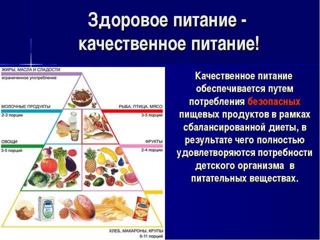 Здоровое питание - качественное питание! Качественное питание обеспечивается...
