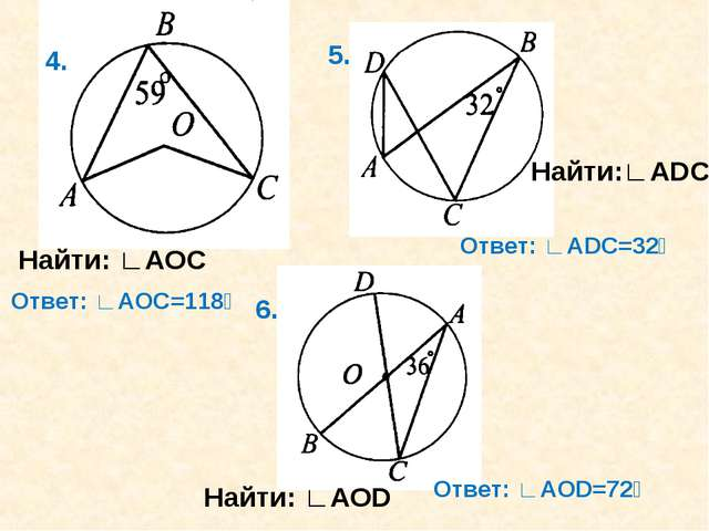 Найти: ∟АОС Найти:∟ADC 4. 5. 6. Найти: ∟AOD Ответ: ∟АОС=118⁰ Ответ: ∟АDС=32⁰...