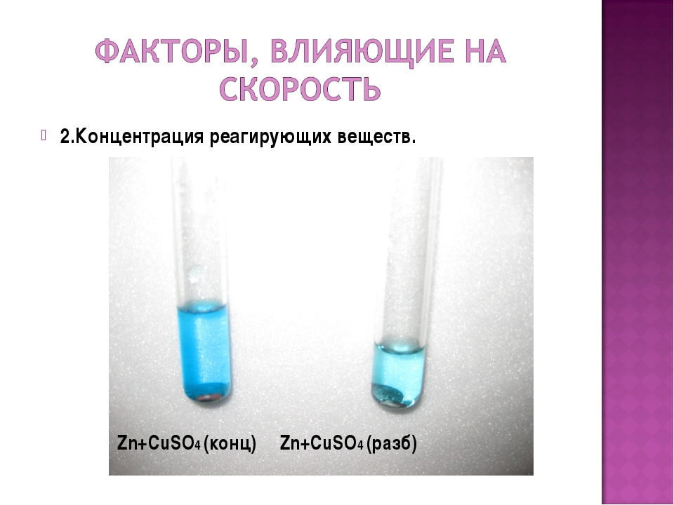 2.Концентрация реагирующих веществ. Zn+CuSO4 (конц) Zn+CuSO4 (разб)