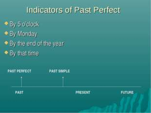 Indicators of Past Perfect By 5 o'clock By Monday By the end of the year By t