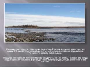 С приходом холодов, река даже под воздействием морозов замерзает не сразу. Ей