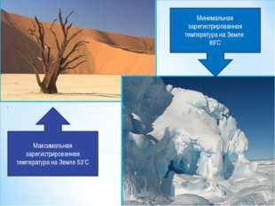 Максимальная зарегистрированная температура на Земле 53°С Минимальная зарегис