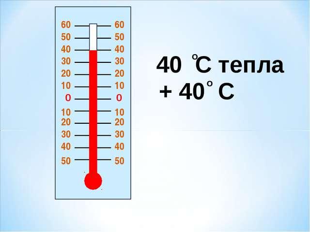 0 0 20 20 10 10 10 10 20 20 30 30 30 30 40 40 40 40 50 50 40 C тепла + 40 C о...