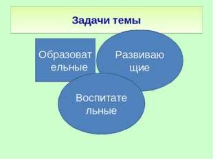 Задачи темы Образовательные Развиваю щие Воспитательные