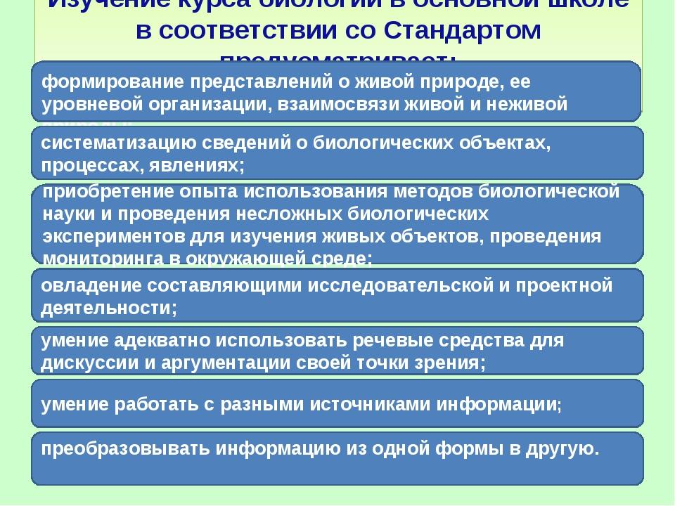 Изучение курса биологии в основной школе в соответствии со Стандартом предус...