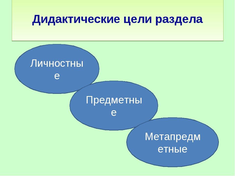 Дидактические цели раздела Личностные Предметные Метапредметные